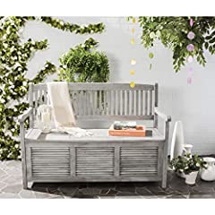 This outdoor storage bench will add a fresh look to any outdoor space The grey finish of this outdoor storage bench will add the perfect accent to any outdoor space Crafted of acacia wood Perfect for any outdoor space For over 100 years, Safavieh has...