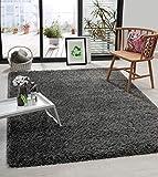 the carpet Green Velvet - Alfombra ecológica para salón, fabricada en 100% poliéster reciclado, pelo largo, aspecto de piel de lujo, suave, color antracita, 160 x 230 cm