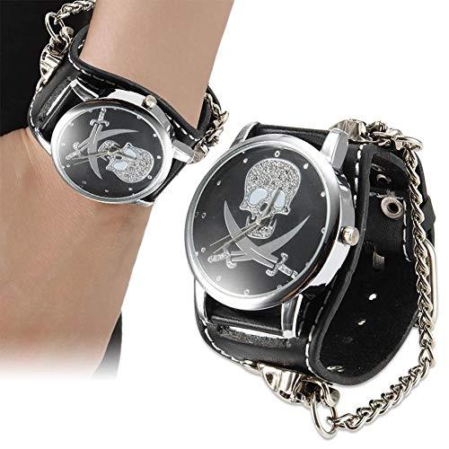 FENKOO Unisex-Uhr Zwei Messer Schädel Muster Punk-Stil Leder Uhr (Color : Black)