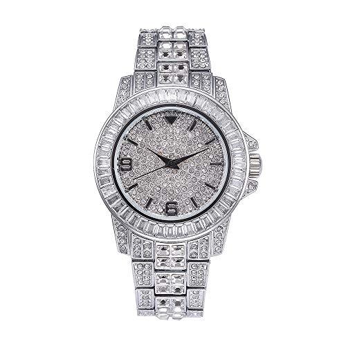 Reloj Diamond Diamond Watch con Reloj de Hip Hop Completo para Hombres Bling Bling Reloj de Diamantes simulado Reloj (Plata)