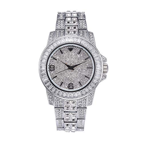 Gold Iced Out Uhren für Männer Silber Diamant Hip Hop Uhren Bling Bling Uhren für Damen
