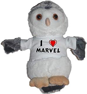 Shopzeus Búho de peluche con Amo Marvel en la camiseta (nombre de pila/apellido/apodo)