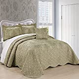 Home Soft Things Damask 4 Piece Bedspread Set,Scalloped Edge Reversible Quilt Coverlet Com...