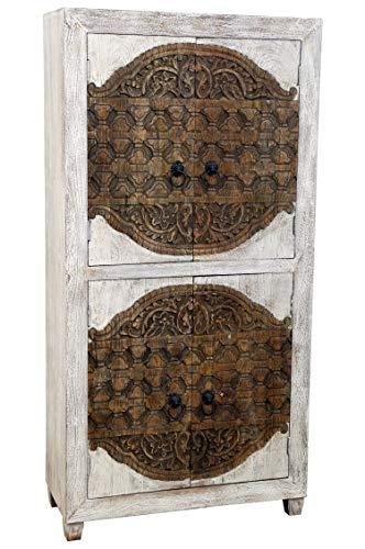 Aswa Oriëntaals grote kast kledingkast, 180 cm hoog, Marokkaanse vintage gangkast, smal, Oosterse kasten van massief hout, voor de hal, slaapkamer, woonkamer of badkamer