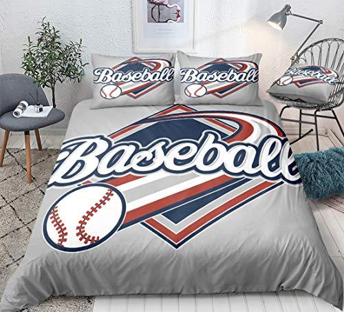 Baseball-Bettwäsche-Set für Teenager, Jungen, Sport-Bettbezug-Set, 3D-Baseball-Druck, 3-teilig, Bettdeckenbezug, 1 Bettbezug, 2 Kissenbezüge (Baseball, Queen)