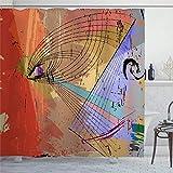 Duschvorhang Grafische abstrakte Farbstriche Grunge Textur Regenbogen Spritzer Design künstlerisch Graffiti Öl Duschvorhang mit Ringe Polyester Stoff Duschvorhänge mit Haken Bad Badezimmer Dekor