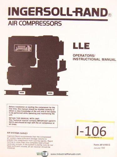 Ingersoll Rand LLE Air Compressors Operators Instruction Manual