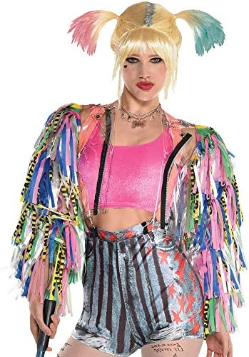 amscan Harley Quinn Caution Tape Jacket for Women Birds of Prey Small Medium Features Colorful product image