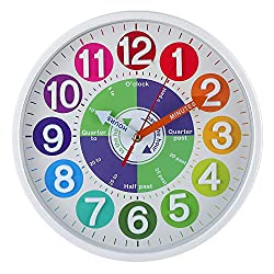 CIGERA 12 Inch Educational Wall Clock for Kids with Silent Movement and 3D Numerals,Great Learning Clock for Kids,Nice Wall Decor for Classroom, Playroom and Kids Bedroom (White)