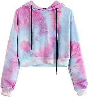 TUDUZ Blouse Women's Hoodie Tie Dye Printed Hooded Sweatshirt Long Sleeve Sport Short Pullover Tops Blouse M=UK(10) Purple