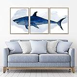 Gran tiburón blanco acuarela Set de 3 lienzos para decoración del hogar Framed Oak Large