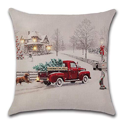 axsl Farmhouse Christmas Tree in Red Car Pillow Cover Cute Dog Pillow Cushion Case Throw Pillow Case Cushion Cover 18' x 18' 45cm x 45cm