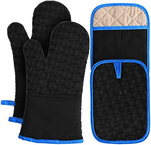PRETTY SEE Oven Mitts and Pot Holders 4pcs Set Heat Resistant 500 Degrees, 2 Extra Long Oven Gloves with Non-Slip Silicone and 2 Extra Large Potholders with Pocket, Kitchen Mittens for Cooking, Baking