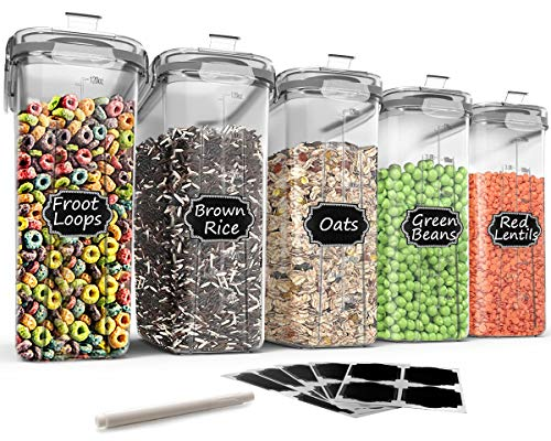 Large Cereal & Dry Food Storage Containers - Wildone 5 Pieces Airtight Cereal Storage Containers for Sugar, Flour, Snack, Baking Supplies, Leak-proof with Grey Locking Lids (4L /135.3oz)