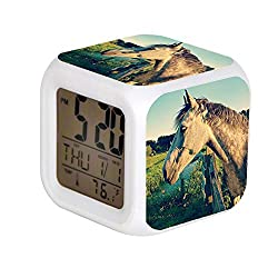 ALPERT Child 7 Color Change LED Digital Alarm Clock with Date Alarm Thermometer Desktop Table Cube Alarm Clock Night Glowing Flash Watch Toys Gray Horse