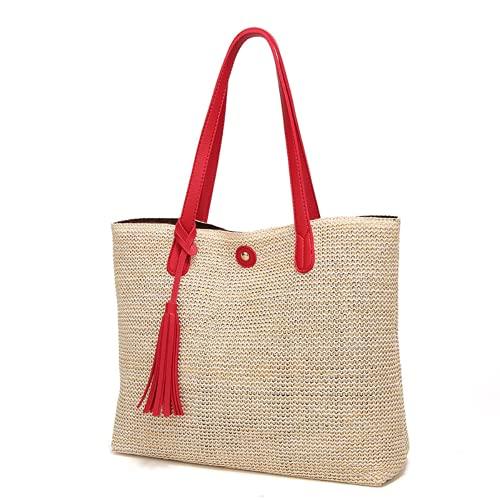 Paglia delle donne Woven Tote Grande Spiaggia di Tessitura A Mano del Sacchetto di Spalla Della Borsa (red,One Size)