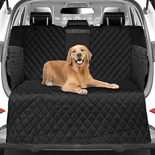 WOMGF Hund Kofferraumschutz mit Seitenschutz wasserabweisend Kofferraumdecke mit Aufbewahrungsbeutel Hundedecke für Auto Schwarz