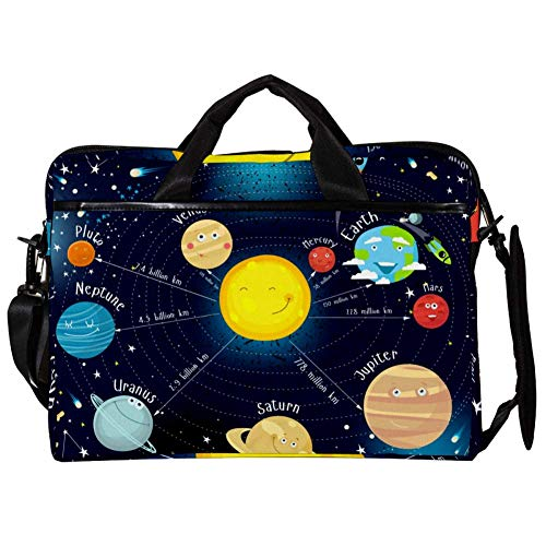 TIZORAX Laptop Messenger Shoulder Bags Cartoon Solar System with Stars Computer Sleeve Notebook Carrying Case 15-15.4 inch Handbag