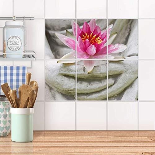 creatisto Fliesenposter für Küche und Bad I Fliesen-Sticker Aufkleber selbstklebend I Fliesen renovieren - Stickerfliesen für Küchen- und Badfliesen I Design: Flower Buddha