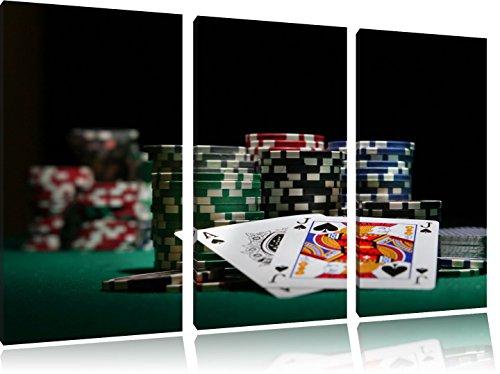 Dark Pokertisch mit Karten in Las Vegas 3-Teiler Leinwandbild 120x80 Bild auf Leinwand, XXL riesige Bilder fertig gerahmt mit Keilrahmen, Kunstdruck auf Wandbild mit Rahmen, gänstiger als Gemälde oder Ölbild, kein Poster oder Plakat
