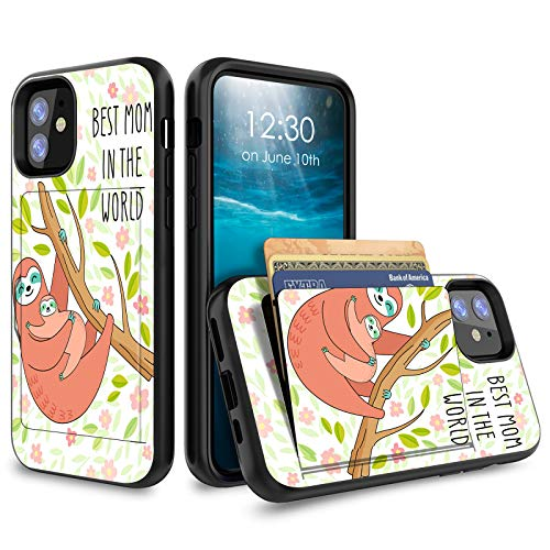 for iPhone 12 Case,for iPhone 12 Pro Case 6.1 inch, Credit Card Holder Wallet Dual Layer Full Body Shockproof Protective Phone Case Cover for for Apple iPhone 12 Pro - Best Mom in The World Sloth