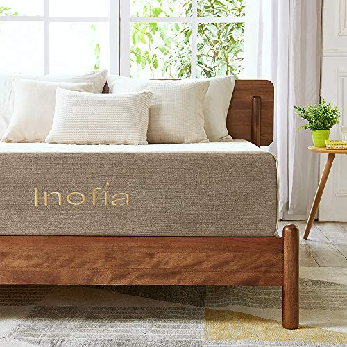 Inofia Twin Mattress,11 inch Natural Latex Mattress in a Box, ECOTURE Bed Mattress with Linen Cover, Ventilated Design | Sleeps Cooler, 3 Layer Support System, Medium Firm, 100-night Home Trial