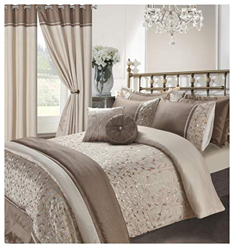 Hendem Marie Duvet Quilt Cover Embroidery Sequin Bedding Set Modern Bedroom Collection (Marie Latte, Double Duvet Cover)