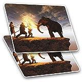 Impresionante pegatinas rectangulares (juego de 2) 7,5 cm – Impresionante Mammoth Fight Cool Fun calcomanías para portátiles, tabletas, equipaje, libros de chatarra, frigorífico, regalo genial #3858