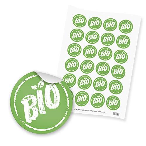 itenga 24x Sticker Aufkleber Bio (Motiv 113) grün weiß rund 4cm DIN A4 Bogen