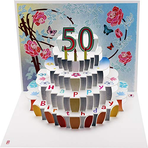 FOREVER 50 Geburtstag Pop Up 3D Laser Karte Gutschein Torte 16x11cm