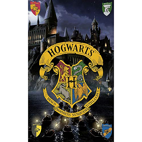 Harry Potter Badetuch Hogwarts 75 cm x 150 cm 100% Baumwolle Velours-Qualität Strandlaken Strandtuch Handtuch Badelaken Saunatuch Gryffindor Hufflepuff Ravenclaw Slytherin Ron Hermine zur Bettwäsche