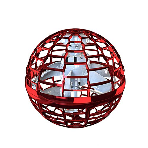 VNK Magic Flying Ball Spinner Endless Trick Flying Toy Hand Operated Drones Aircraft,Red Fidget Spinner,Red