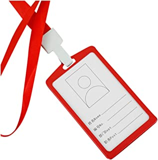 Fan-Ling Portable Employee Work Card Holder, Aluminum Vertical ID Card Badge Holder,Business Work Bus Card Case Cover Lanyard,A Real Necessity for Those who has Work Cards (red1)
