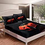 Feelyou Sports car Bed Sheet Set Modern Race Car Sports Bedding Set for Kids Boys Girls Children Black and Orange Fitted Sheet Stripe Ultra Soft Lightweight Bed Cover Twin Size