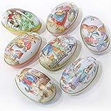 Treer Uova di Pasqua, Decorazione di Pasqua a Motivi Uovo Famiglia di Coniglio Giardino Diversi Colori Decorazione Artigianato Scatola Rotonda di Latta (14. Set da 7 Pezzi)
