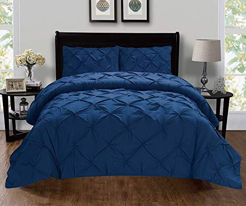 Celine Linen Luxury Super-Soft Coziest 1500 Thread Count Egyptian Quality 3-Piece Pintuck Design Duvet Cover Set, (Insert Comforter Protector) Wrinkle-Free, Full/Queen, Navy Blue