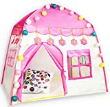 HIHIYO Princess Castle Play Tent for Girls,Large Kids Teepee Tents Playhouse Toys Foldable with Star Lights for Children or Toddlers Indoor and Outdoor Games, (Flower Pink)