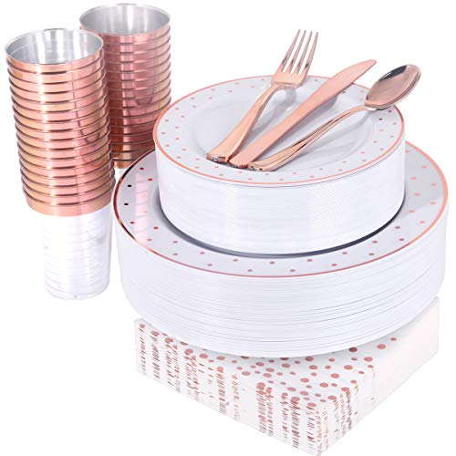 WELLIFE 350 PCS Rose Gold Plastic Dinnerware Disposable Dot Plates Suitable for Wedding Party Include 50 Dinner Plates 50 Dessert Plates 50 Forks 50 Knives 50 Spoons 50 Cups 50 Dot Napkins