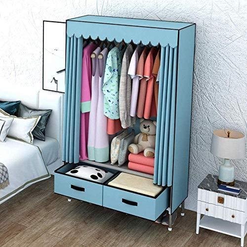 JLKDF Leinwand Kleiderschrank mit Schublade Einzelzimmer Wohnzimmer Schlafsaal Kleidung Bettwäsche Unterwäsche Aufbewahrungsschrank Tragbar Staubdicht-Blau_82 * 45 * 168Cm