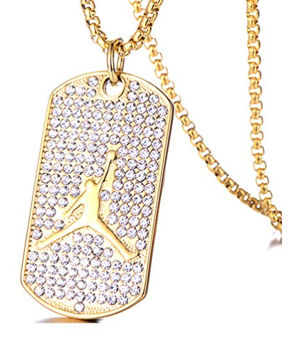 Mgutillart Hip Hop 18K Gold Plated Titanium Steel Crystal Basketball Dog Tag Pendant Necklace