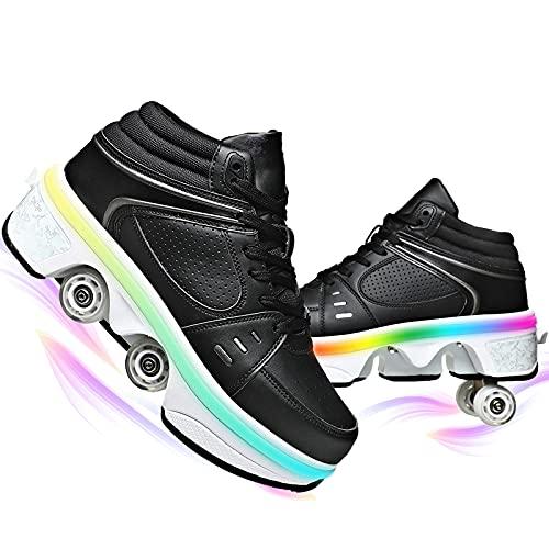 YUNWANG PatinesDeRuedas CorriendoPatinajeDeporteZapatillas Multifuncionales Deformados Zapatos con Luces LED De Colores Recargable por USB