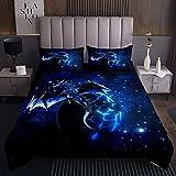 Galaxis Drachen Bettüberwurf Kinder Schick Weltraum Sternenhimmel Tagesdeck 170x210cm Wohndecke Dschungeltiere Drachen für Jungen Kinder Jugendliche Schlafzimmer Dekor Blau Schwarz Steppdecke