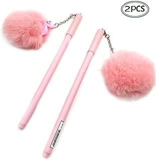 Needle Gel Pen with Pom Poms 2 PCS Pink Flamingo Design Black Ink Pom Pom Pen Gifts For Girls Women