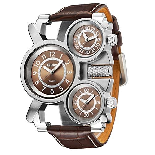 1 reloj de pulsera de cuarzo militar con múltiples zonas horarias, reloj de pulsera de piel sintética duradera para hombres, padre y novios