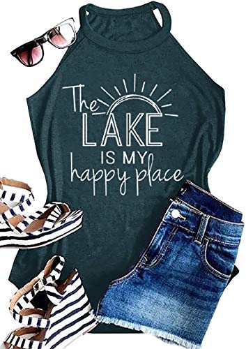 MAOGUYUN Lake Life Tank Summer The Lake is My Happy Place Tank Tops for Women High Neck Casual Letters Print Shirt Tees (Green, XL)