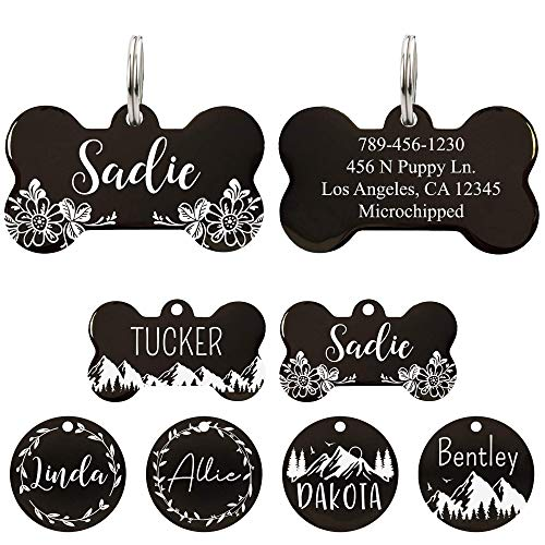 UltraJoys Stainless Steel Pet ID Tag Dog Name Tags Personalized Front and Back Engraving, Customized Dog Tags and Cat Tags, Optional Engraved on Both Sides, Bone Tag with Floral Design, Large