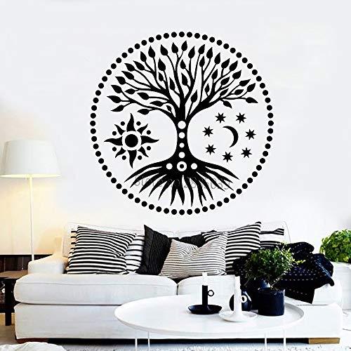 Baum des Lebens Sun & Moon Stars Stickers Ethnic Style DIY Große Baumzusammenfassung Wandtattoo Kinderzimmer Wandaufkleber Schlafzimmer