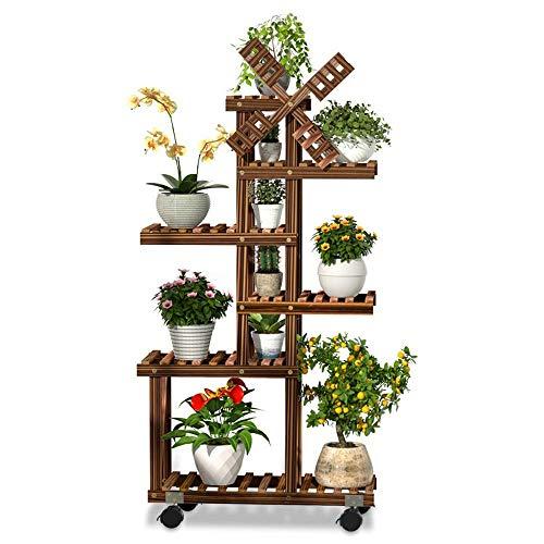 N/Z Home Equipment Plant Flower Pot Base 6 Layer Wooden Flower Stands Rolling Flower Plant Display Shelf Storage Ladder Stand Rack Corner Plant Stand (Color Size : 58x25x105cm)