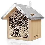 WILDLIFE FRIEND I Hotel delle api con Tetto in Metallo, Hotel per Insetti api Selvatiche - preassemblato in Legno di Pino e 100% Resistente alle intemperie