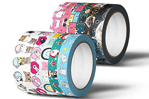 Cat Washi Tape Cute Kawaii Cats Paw Print Cartoon Design Theme Decorative Masking Sticky Japanese Duct Tape Stickers for Scrapbook Wrapping Paper Diary Planner Stationary Craft (12 PC Set)